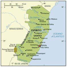 ESPIRITO SANTO - Esta localizado na regiao Sudeste. Faz fronteira com o oceano Atlantico a leste, com a Bahia ao norte, com Minas Gerais a oeste e com o estado do Rio de Janeiro ao sul. - Pesquisa Google