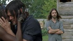 The Walking Dead: Reunion at The Hilltop. Darly and Michonne hug while Jesus, with his majestic hair, looks on.