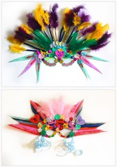 Homemade Mardi Gras masks constructed from feathers, ribbon, and sequins. Brazil Carnival Costume, Carnival Costumes, Carnival Crafts, Carnival Masks, Diy For Kids, Crafts For Kids, Arts And Crafts, Samba, Carnival Headdress
