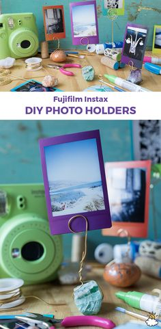 These picture-perfect photo holders are easy-to-make with help from Fujifilm and the Fujifilm Instax®️️ Mini With just a few simple like and you'll have the perfect memory display made in no time. Polaroid Display, Mini Polaroid, Photo Polaroid, Polaroid Pictures, Polaroid Ideas, Polaroid Wall, Polaroid Camera, Mini Camera, Polaroids