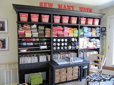 craft room organization ideas on a budget | Seriously...crown molding and paint can turn junk into a jewel.
