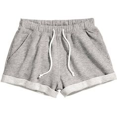 H&M Sweatshirt shorts (120 MXN) ❤ liked on Polyvore featuring shorts, bottoms, pants, short, grey, h&m shorts, cotton shorts, gray shorts, grey shorts and short cotton shorts