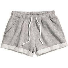 H&M Sweatshirt shorts (23.665 COP) ❤ liked on Polyvore featuring shorts, bottoms, pants, sweats, grey, h&m shorts, h&m, gray shorts and grey shorts