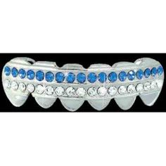 BLUE / CLEAR Double Bar SILVER Iced Out Grillz Hip Hop Bling Grills BOTTOM