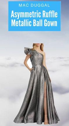 "Mac Duggal  Asymmetric  Ruffle Metallic Ball Gown -. Approx. length: 61""L from shoulder to hem; 67""L down center back. One-shoulder neckline. Sleeveless. Side seam pockets. A-line silhouette. Floor length hem. Side zipper; hook & eye. Self/lining: polyester. Spot clean. Imported.   #macduggal #macduggaldress #macduggalgown #metallicgown #metallicdress metallicballgown Beautiful Party Dresses, Unique Formal Dresses, Formal Gowns, Gala Gowns, Bridesmaid Dresses, Prom Dresses, Mac Duggal, Metallic Dress, Holiday Dresses"