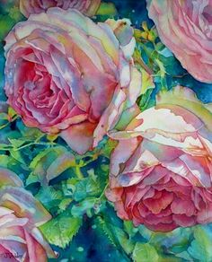 Cabbage Roses by Jeannie Vodden