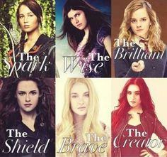 Katniss Everdeen (The Hunger Games), Annabeth Chase (Percy Jackson), Hermione Granger (Harry Potter), Bella (Twilight), Beatrice Prior (Divergent), Clary (The Mortal Instruments).