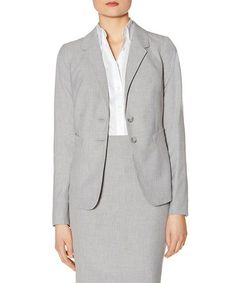 Light Gray Collection Two-Button Jacket #zulily #zulilyfinds