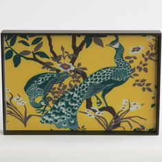Peacock Lacquered Wood Tray
