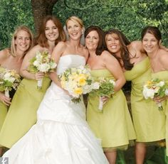 chartreuse bridesmaids. love this sophisticated color