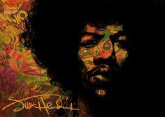 """2015_03 - Jimi Hendrix """" 좋아해 마지않는 기타리스트 지미 헨드릭스를 그려봤습니다."""""""