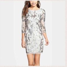 NWT Adrianna Papell NYE Party dress! 🍾🎉 Adrianna Papell sequin 3/4 sleeve cocktail dress! Never been worn with tags! size 4! Perfect for your NYE party dress! Adrianna Papell Dresses Mini