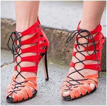 Multicolor tobillo atadas-cruz Lace Up sandalias 2015 Sexy Peep Toe tacones altos gladiador sandalias mujeres botas zapatos de mujer de verano(China (Mainland))