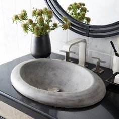 Cuyama Bath Sink in NativeStone- With an elegant raised profile and wide lip, Cuyama is far from ordinary. This is one bathroom sink that exudes a graceful, modern sophistication with just a hint of rustic comfort.