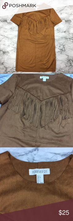 FOREVER 21 women's brown suede fringe dress BRAND NEW, never worn. FOREVER 21 women's suede brown dress. Size : small Forever 21 Dresses