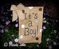 It's a Boy Burlap Garden Flag Bow New Baby by artistrhondajames