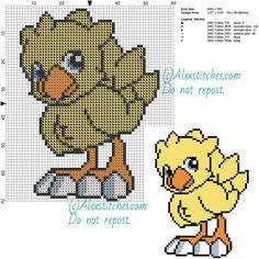 Chocobo (Final Fantasy Saga) free videogames cross stitch pattern 60x70 6 colors