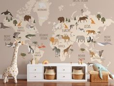 A Boho Animal World wallpaper. Surround your little one with a world full of animals in a eye-catching and educative way! Easy do-it-yourself wall fabric. Choose between Peel & Stick Wallpaper or Pasted Wallpaper (Free adhesive). Free shipping above $250 in Australia 🇦🇺 *This Design can vary in size depending on measurements of your wall. Wallpaper Edge, World Wallpaper, Peel And Stick Wallpaper, Removable Wall Murals, Wall Fabric, How To Remove, Boho, Wall Art, Adhesive