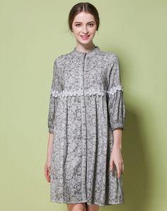 VIPme (VIPSHOP Global) - GUSTAVO ARANGO Gray Vintage Mid-length Floral Stand Collar Paneled Outerwear - AdoreWe.com