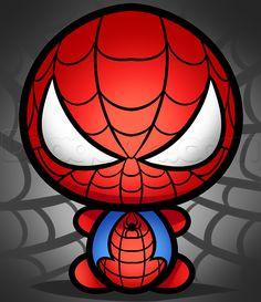 how to draw kawaii spiderman