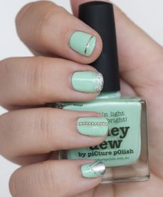 piCture pOlish 'Honeydew' with silver accents mani art by Maoya!  Buy on-line now:  www.picturepolish.com.au