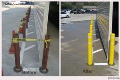Before and After! -Post Guard Bollard Covers