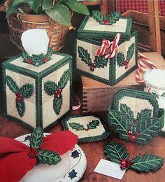 "flag plastic canvas tissue box | FESTIVE HOLLY TISSUE BOX COVER & SET"" ~*~PLASTIC CANVAS PATTERN~*~"