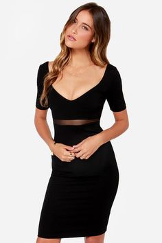 """It's time to get serious about styles like the Don't Mesh Around Black Midi Dress! In a thick body-contouring stretch knit, a sexy short sleeved bodice takes shape scooping into a V-neck front and back, with darted accents. A band of sheer black mesh creates a sexy accent at front wrapping half way around the back, while a chic midi skirt finishes the look. Hidden back zipper. Bodice is lined. Model is 5'8"""" and is wearing a size X-small. Self: 75% Polyester, 20% Polyamide, 5% Spandex…"""