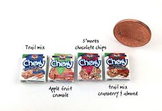 1:12 Scale Dollhouse Miniatures Two Quaker Chewy Cereal Boxes