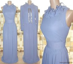 Vintage 70s Periwinkle Beaded Goddess MAXI Dress 2pc Gown Jacket Ruffle Neck 12 $9.99  http://www.ebay.com/itm/190668220222?ssPageName=STRK:MESELX:IT&_trksid=p3984.m1555.l2649