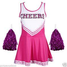Varsity Cheer School Girl Cheerleader Fancy Dress Up Uniform w Pom Poms | eBay