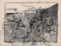 JENNY SAVILLE In the realm of the Mothers I, 2012–14 Charcoal on canvas 98 3/8 x 130 13/16 x 2 inches (249.8 x 332.2 x 5 cm)