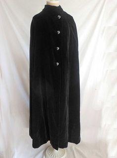 Irene Galitzine Black Velvet Long Maxi Cape Evening Vintage 60s Couture #Galitzine