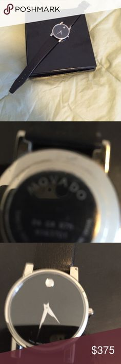 Vintage genuine men's Movado watchSPECIAL Genuine men's Movado watch with black leather straps. Was worn 2 to 3 times at most. I do not have the box. Black face with silver  leather strap like brand new. Absolutely no scratches or any wear and tear. Watch needs battery. ✨✨SPECIAL PRICE✨✨ Movado Accessories Watches