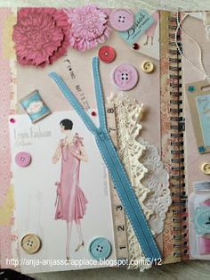Love this page. Great use of sewing notions scrap coture