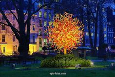 The Sun glass sculpture by Dale Chihuly in Berkeley Square in London.