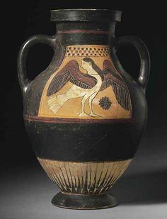 A CORINTHIAN BLACK-FIGURED PANEL AMPHORA | NEAR THE TYDAEUS PAINTER, CIRCA 550 B.C. | Ancient Art & Antiquities Auction | Ancient Art & Antiquities, amphora | Christie's. Siren.