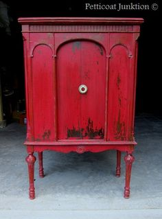 Miss Mustard Seeds Milk paint in Tricycle. Shabby chic red cabinet by Petticoat Junktion~~