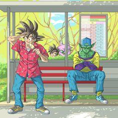 Goku and Piccolo at driving school Dragon Ball Z Shirt, Funny Dragon, Ball Drawing, Dbz Characters, Anime Poses, Anime Kawaii, Dark Anime, Nerd Geek, Anime Outfits
