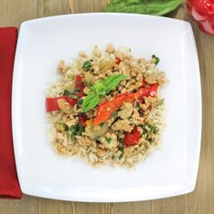 Dinner is ready with this PALEO Thai Basil Chicken with Cauliflower Rice Dish. Wide variety of cuisines to choose from every week. Let My Chef deliver fresh, delicious meals to you. See what's cooking at OrderMyChef.com/Menu. #mychef #ordermychef #paleo #paleomeals