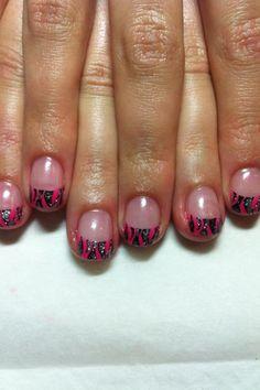 Pink nails with sparkly zebra print. #gel #nails #nail_art #sheenasnails #gel_nails #zebra