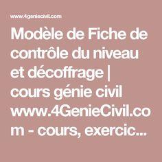 Modèle de Fiche de contrôle du niveau et décoffrage | cours génie civil www.4GenieCivil.com - cours, exercices corrigés et videos