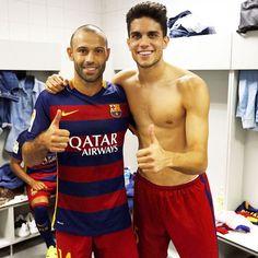 """""""Gran trabajo equipo!! En un estadio siempre difícil! Con el jefecito  Siempre con esfuerzo y alegria... Força Barça!!!"""""""