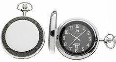 Modern polished gunmetal pocket watch with a hobnail bezel