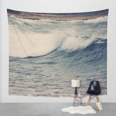 Art Wall Tapestry Ocean Blue 4 Modern photography Unique Wall Hanging home decor gray tan nautical photo photograph beach house navy wave