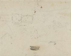 Philippe Auguste Hennequin | Schets van de plattegrond van het Paviljoen Welgelegen, Philippe Auguste Hennequin, 1806 - 1810 | Schets van de plattegrond van het Paviljoen Welgelegen te Haarlem en enige krabbels.