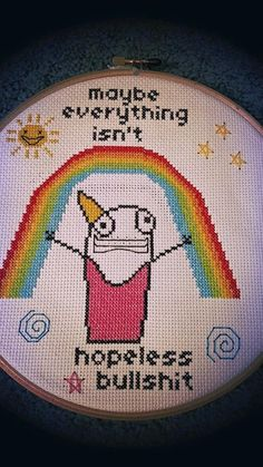 "pdxstitch: ""spannytampson: ""Getting my hyperboleandahalf craft nerd on. "" The world needs more hyperbole and a half cross stitching """
