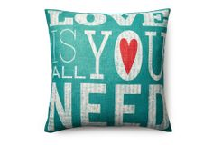 One Kings Lane - Pillow Talk - All You Need 20x20 Pillow, Teal
