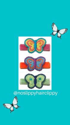 Felt butterfly trio, multi-colors make this a super fun hair clip. Our hair clips are hand-made in the USA, and are fully lined in Swiss velvet for soft, no-slip hold. They're also ouch-free, and won't break of damage delicate fine hair.  #noslippyhairclippy #hairclippy #nosliphairclips #butterfly #hairclips #velvet #felt #shopsmallbusiness #toddlerhairclips #toddlerlife #momlife #reno #carsoncity #handmade #girlshairclips #babyhairclips #babyhairaccessories Toddler Hair Clips, Baby Hair Clips, Baby Headbands, Baby Hair Accessories, Baby Bows, Fine Hair, Cool Hairstyles, Delicate, Felt