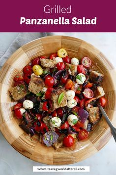 Grilled Panzanella Salad, also known as bread salad, is an Italian-inspired summer dish featuring grilled peppers and onions, fresh tomatoes, herbs, mozzarella, charred bread, and red wine vinaigrette. It's a healthy vegetarian meal that's full of flavor! #salads #grillingseason #panzanella